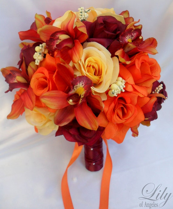 17pcs Wedding Bridal Bouquet Set Decoration Silk By