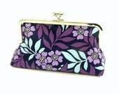 Purple, lavender and blue flowers Clutch  - Silver kisslock frame