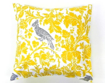 16x16 Decorative Pillow Cover. Birds and Flowers in Yellow, Grey and White