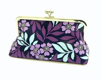 Purple, lavender and blue flowers Clutch  - Silver kisslock frame