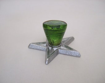 Green glass knob on aluminum star back plate