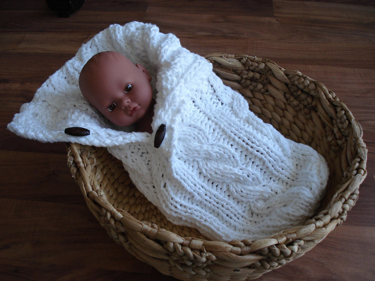 Baby Cocoon Knit Pattern : Cable Pattern Button Up Baby Cocoon Sack by designbycboutique