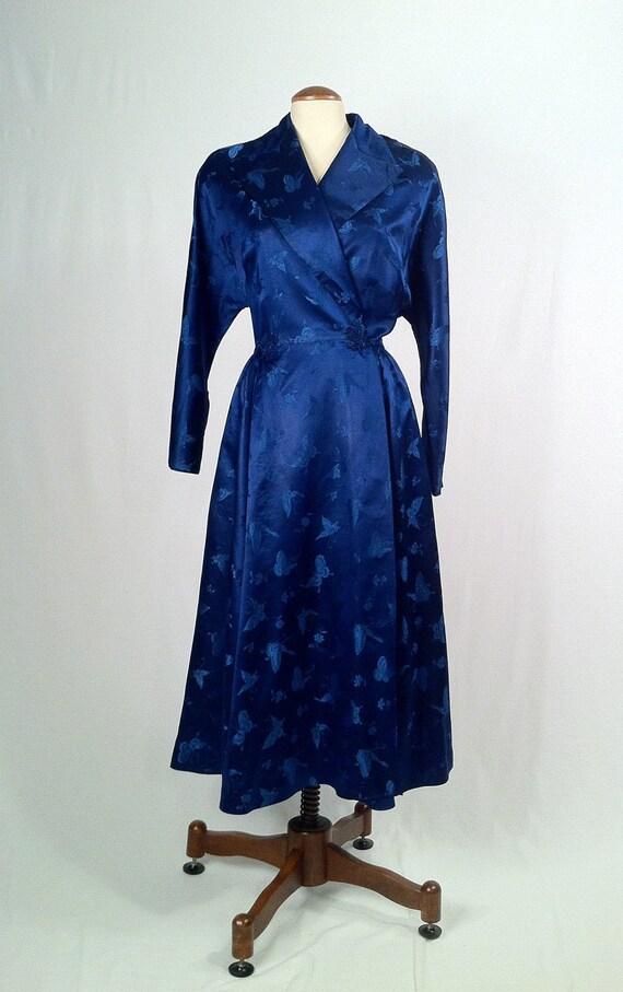 Vintage Royal Blue Satin Brocade Wrap Coat Dress By Slvintage