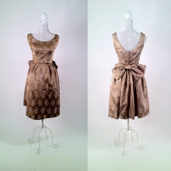 SALE Vintage 1950s Cocoa Café Satin Brocade Cocktail Dress - Back Bow and Bustle - Upcycled