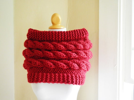 Red Knit Capelet Cabled Shrug - Outlander Cowl Wrap - Lit Knits