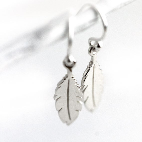 Small Silver Feather Earrings / Shiny Simple Sterling Silver Earrings / Everyday Jewelry by burnish