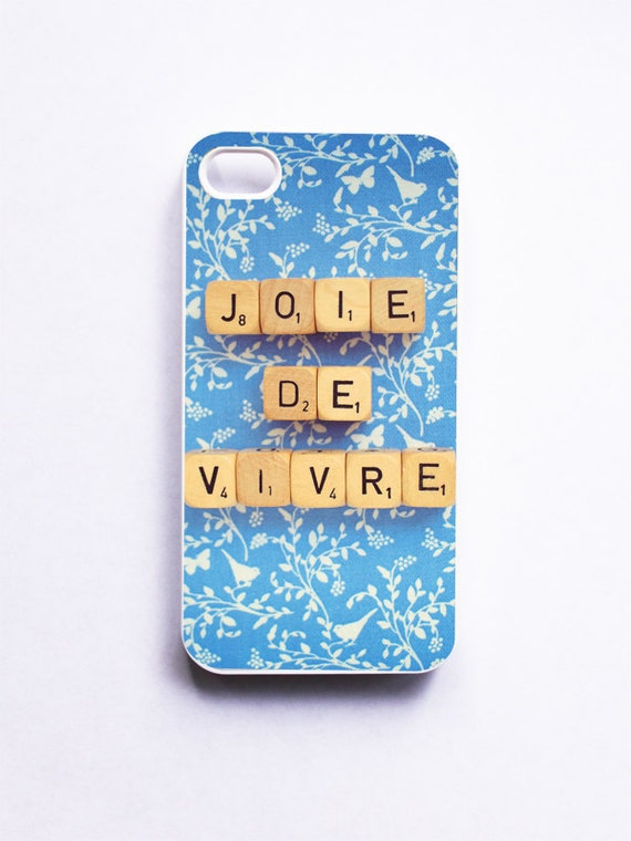 iPhone Case: Joie De Vivre. Scrabble Words. French Word. White Case. Blue Little Birds. iPhone 5 Case. Only One Left. Ready-to-Ship