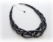 Chunky Black Statement Necklace- Big Braided Necklace- Versatile Black Necklace- Black Pearl and Sparkly Crystal Necklace