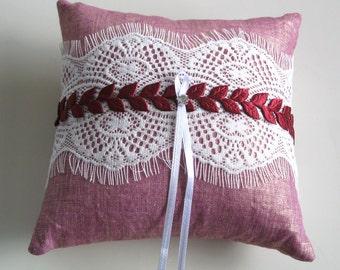 Weddings Ring Bearer Pillow, Baby Shower Pillow, Weddings Cushion, Burgundy Pink, Alencon Lace. Handmade
