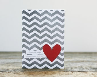 Love Greeting Card Each Beat of My Heart - Wedding Anniversary Gray Chevron Red Heart - Art Greeting Card Valentines Day