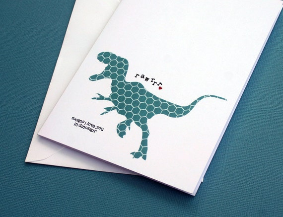 Dinosaur Greeting Card Rawrrr Means I Love You in Dinosaur- Teal Hexagon Geometric Shape Pattern T-Rex with Red Heart