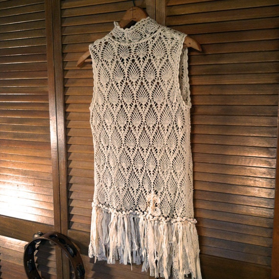 Free Gypsy Vest Crochet Pattern : Crocheted Bohemian Upcycled Vest with Hippie Gypsy by ...