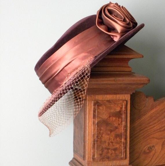 Reserved for Donna////Vintage Velvet Hat -Claret Colored with veil