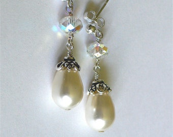 Cream Swarovski Pearls and Crystal Sterling Silver Earrings - Bridal/Bridesmaids