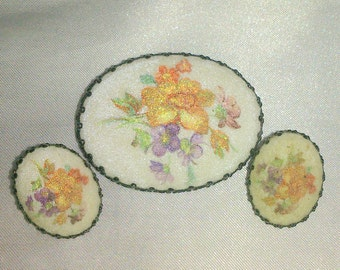 Vintage West Germany Sugar Finish Floral Brooch and Earring Demi
