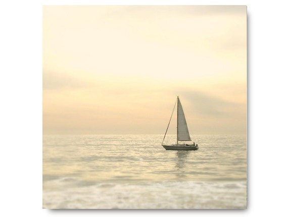 Sailboat Photography, ocean, yellow, grey, cream, beach house decor, soft, pale, beach cottage, coastal living, shore, seashore, gray
