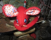 Handmade Up cycled Red Cashmere Mouse Pin Cushion