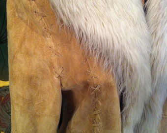Genuine Suede with Faux Fur Maxi Jacket