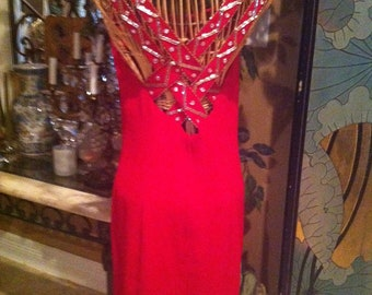 Little Red Dress with beautful crisscross beaded sequin back
