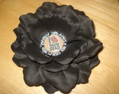 The Walking Dead Flower Hair Clip-I Heart The Walking Dead-Black Silk Rose-4 Inches-Ready To Ship