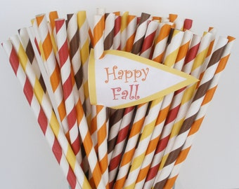 50 Paper Straws....FALL BOUQUET of Stripe Paper Drinking Straws.... Paper Drinking Straws...Cake Pop Sticks