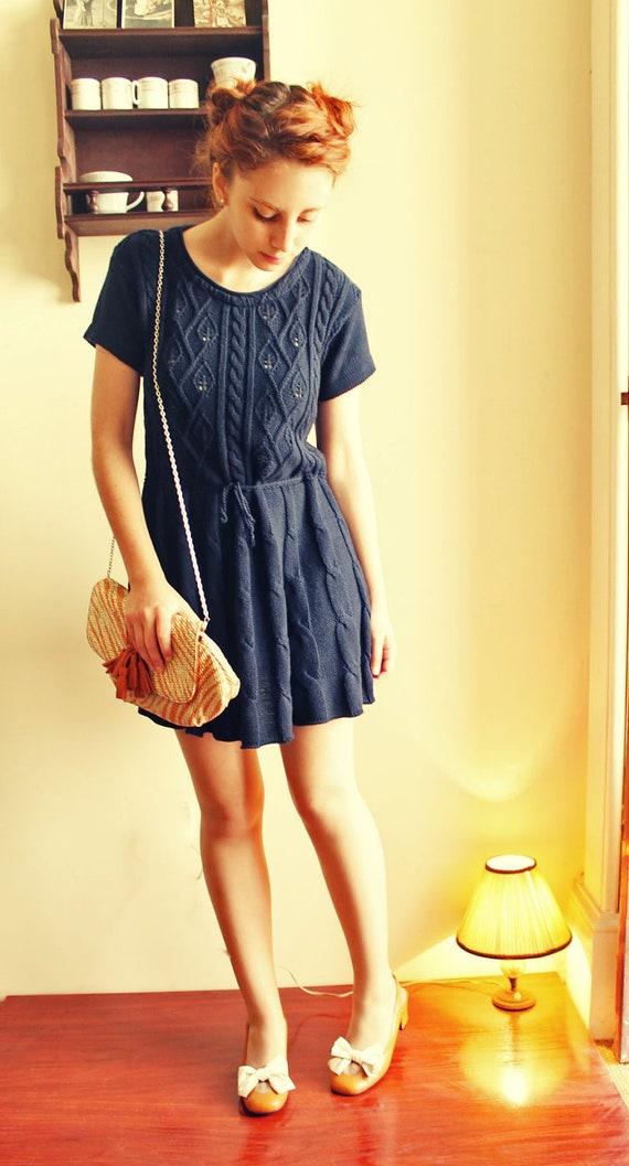 Sale 20% Amazing Vintage dark blue crochet dress with belt