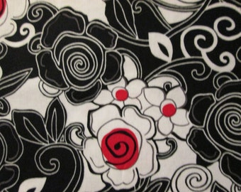 French Poppy Red Black Flowers Cotton Fabric Fat Quarter or Custom Listing