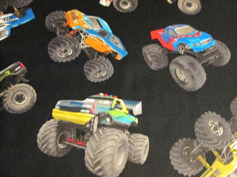 Monster trucks four wheel racing fabric black cotton fabric for Monster truck fabric