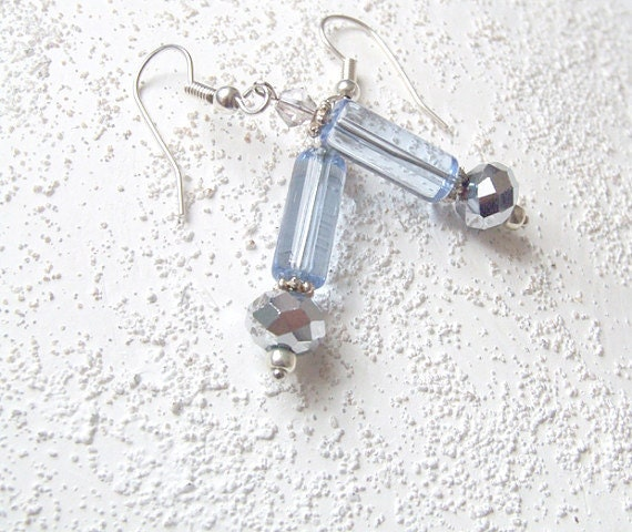 Luminary - beaded earrings in light blue and silver - delicate, shimmer, silver - dangle earrings