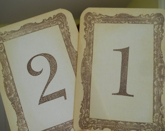 Gold Sepia Brown Table Number Cards, Gold Wedding, gold sepia Victorian numbers cards, gold table numbers, gold numbers, sepia numbers