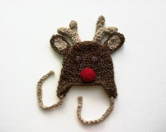 Rudolph the Red Nosed Reindeer Earflap Hat Babies Infants Toddlers Teens