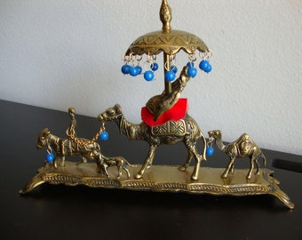 Brass  Camel Caravan,  Desert Figurines, Home Decor, Desert Parade