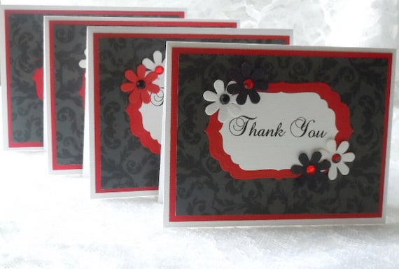 Handmade Notecard set of 4 Black tone on tone  paper with Red & White   Great Gift