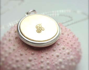 Double Faced Initial Necklace in Mixed Metals/Keepsake Bridal Jewelry/Spring Wedding Trends