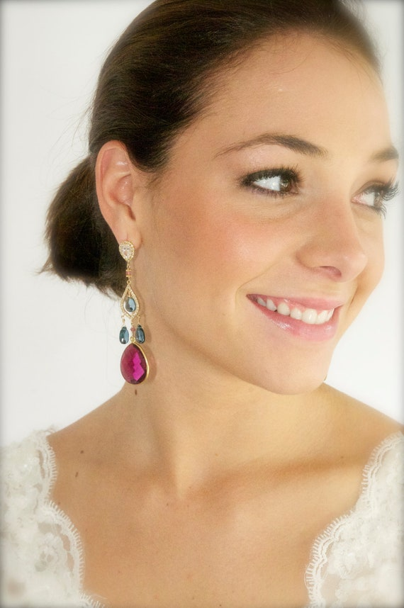 London Blue Topaz and Pink Quartz Chandelier Couture Bridal Earrings, Chandelier Earrings