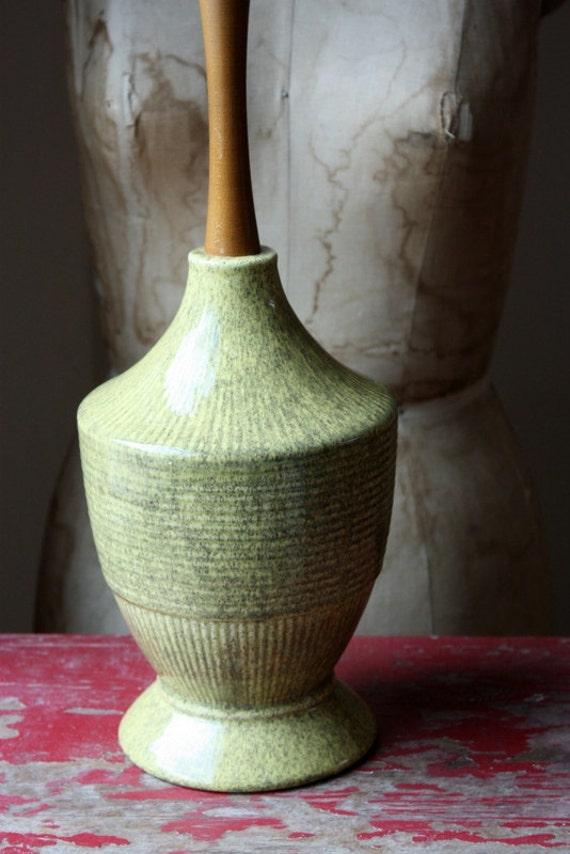 MId Century Modern Yellow Ceramic And Wood Lamp