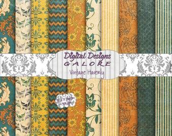 Vintage Haverly Digital Paper Pack Set of 10 - Orange, Yellow, Teal, Beige, Blue 12 x 12 Digital Papers - Digital Designs Galore