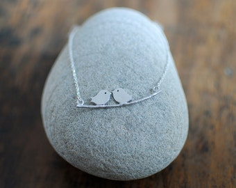 Love birds on a branch necklace