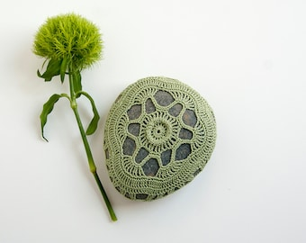Crochet covered rock, lace stone, beach wedding, ring pillow, sage green thread, bowl element, paperweight, fiber art object, unique