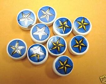New 20 Christmas Star Ceramic Round Beads