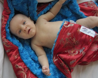 "Red Dragon Brocade Baby Blanket, ""Shannon"""
