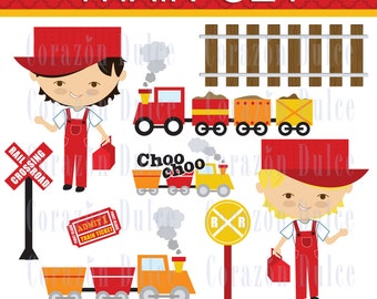 INSTANT DOWNLOAD Train set Clip art -Personal and Commercial Use-