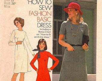 Uncut, Vintage Simplicity 7079, Women's Fashion Basic Dress Sewing Pattern