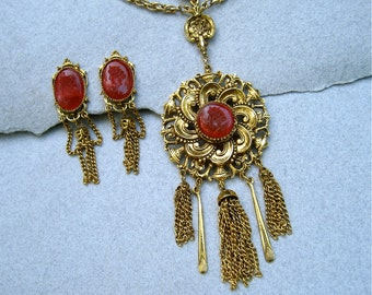 Vintage Signed ART Set Festoon Necklace Earrings Burgundy Intaglio Gold Tone Chain Tassels