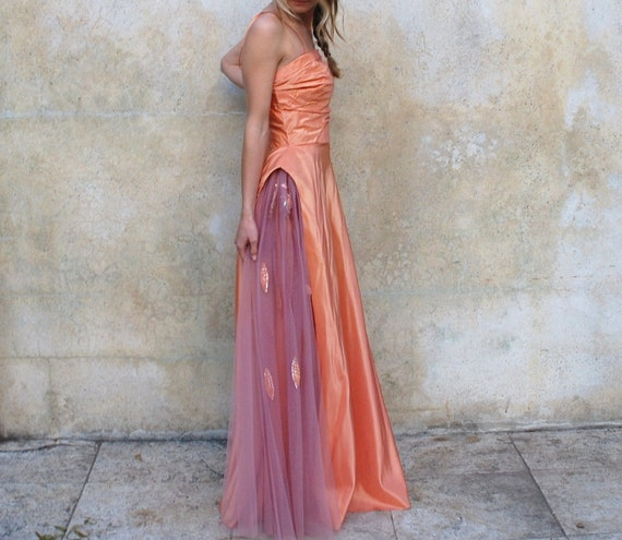 1940s Old Hollywood Prom/wedding Dress- 40s Peach Satin