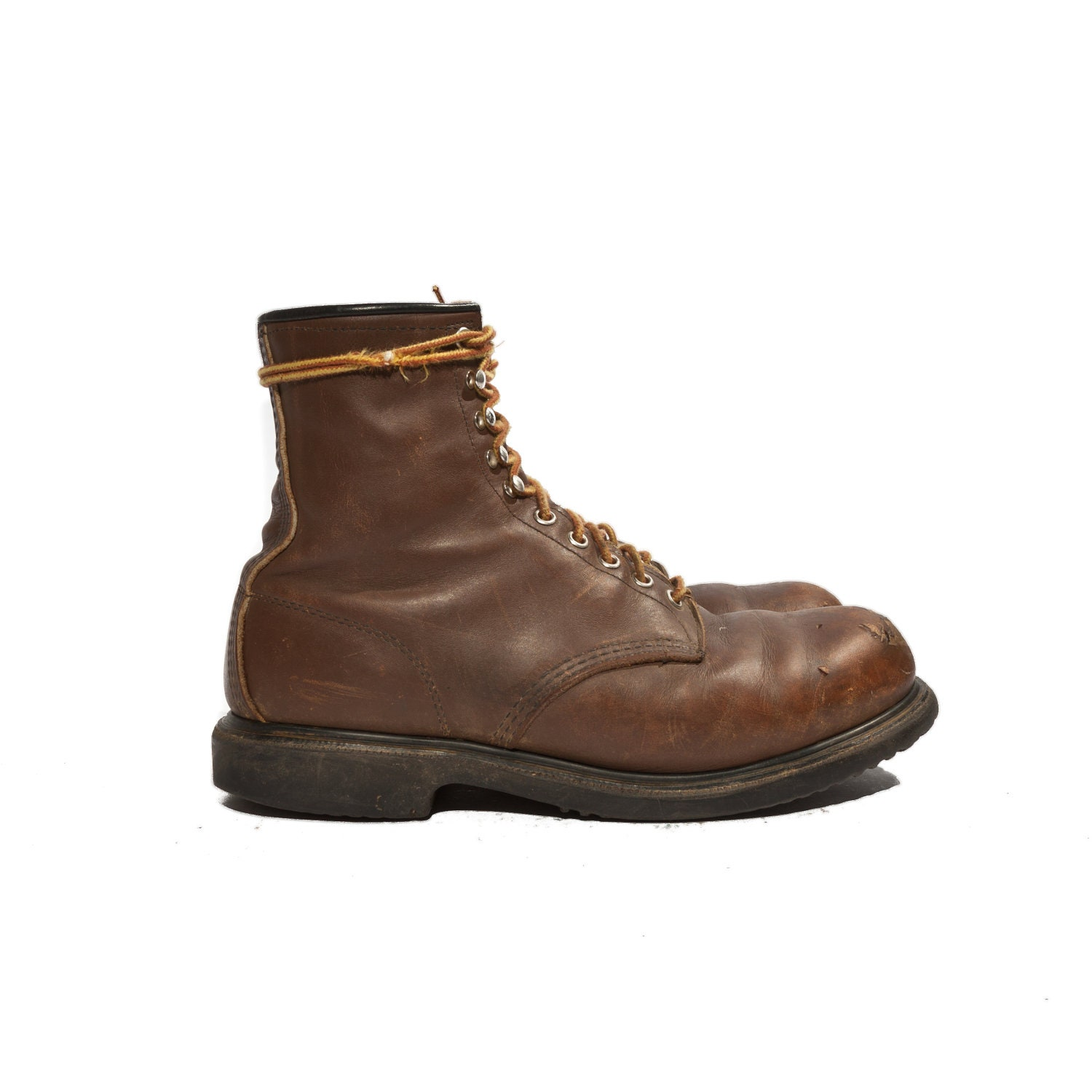 Vintage Red Wing Boots Steel Toe Men's Lace Up Ankle Boots