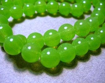 Jade Glass Green Beads Round 8MM