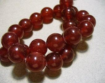 Jade Beads Red  Round 12mm