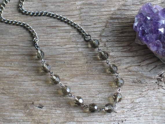 Smokey Mountains Vintage Faceted Glass Smokey Quartz Rosary Beads and Hematite with Gold Accent Chain Necklace