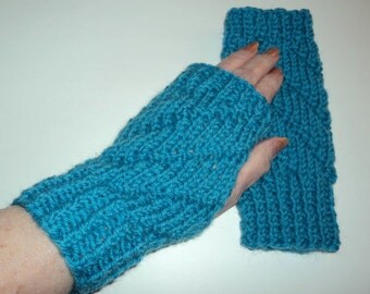 Knit Fingerless Gloves - Handmade Knitted Wool Robins Egg Blue Warm All Season Accessories
